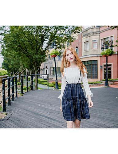 Damen Lose Kleid-Ausgehen Lässig/Alltäglich Einfach Niedlich Solide Verziert Rundhalsausschnitt Übers Knie Langarm Baumwolle Polyester