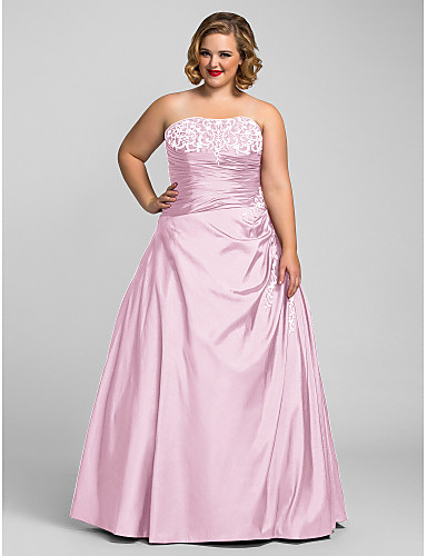 cheap Quinceanera Dresses-Plus Size Ball Gown Strapless Floor Length Taffeta Open Back Prom / Formal Evening Dress with Beading / Embroidery by TS Couture®