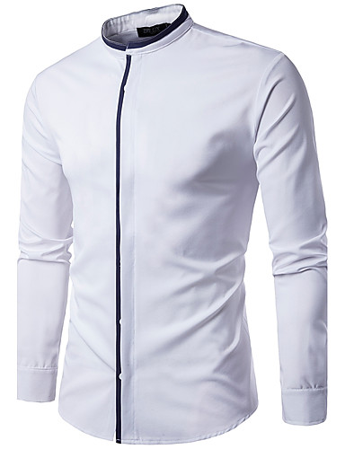 Men's Cotton Shirt - Solid Colored Standing Collar