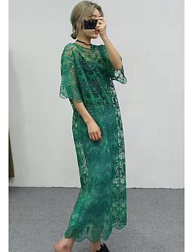Damen Lose Swing Kleid-Ausgehen Lässig/Alltäglich Retro Solide Jacquard Rundhalsausschnitt Midi Kurzarm Baumwolle Acryl Polyester Sommer