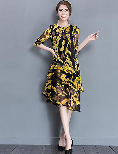 Damen Hülle Kleid-Lässig/Alltäglich Druck Rundhalsausschnitt Midi Halbe Ärmel Polyester Sommer Mittlere Hüfthöhe Mikro-elastisch Dünn