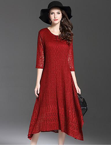 Damen Hülle Kleid-Ausgehen Retro Solide Rundhalsausschnitt Midi 3/4 Ärmel Polyester Herbst Mittlere Hüfthöhe Mikro-elastisch Mittel