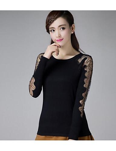Damen Standard Pullover-Lässig/Alltäglich Solide Spitze Rundhalsausschnitt Langarm Baumwolle Andere Herbst Winter Mittel Mikro-elastisch