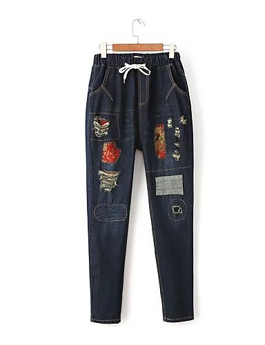 Damen Street Schick Mittlere Hüfthöhe Mikro-elastisch Haremshosen Jeans Hose,Baumwolle Leinen Winter Frühling Sommer Herbst Solide