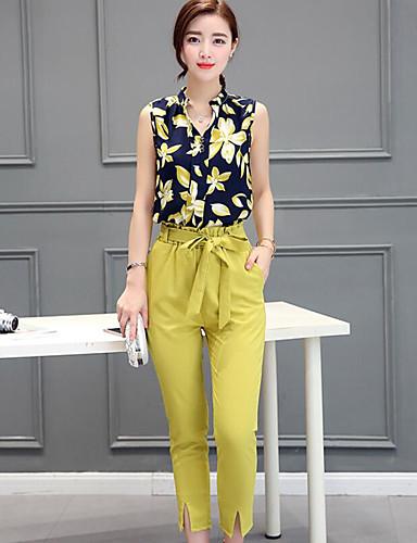 billige Dametopper-Dame Fritid Silke T-skjorte Bukse - Trykt mønster V-hals / Sommer / Sløyfe