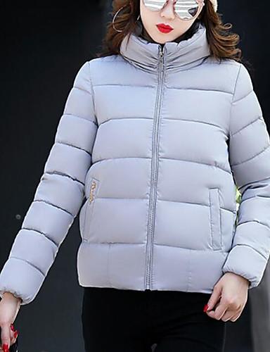 Damen Gefüttert Mantel,Kurz Einfach Niedlich Sexy Ausgehen Lässig/Alltäglich Arbeit Solide-Baumwolle Acryl Polyester Polyester Langarm