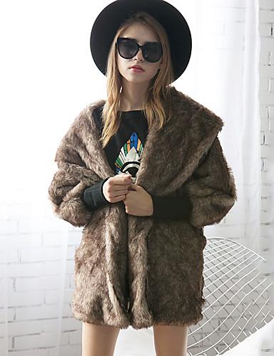 Damen Solide Einfach Freizeit Ausgehen Übergröße Pelzmantel,Hemdkragen Winter Herbst Langärmelige Standard Kunst-Pelz