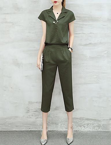 Damen Arbeit / Ausgehen Einfach Schmetterling Ärmel Bluse - Solide, Rüsche Hemdkragen Hohe Hüfthöhe Hose