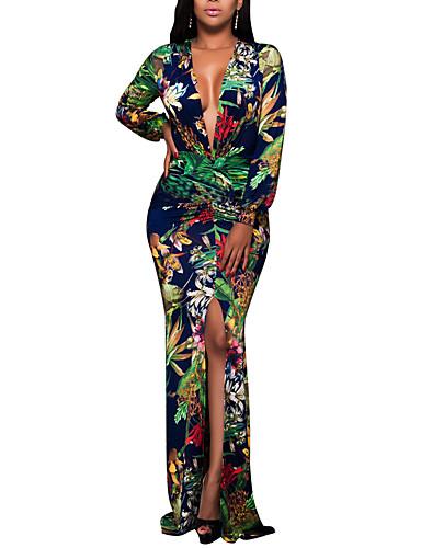 billige Blomstrede mønstre-Dame Plusstørrelser Fest Natklub Boheme Bodycon Kjole - Blomstret, Trykt mønster Maxi Dyb V / Sexy / Tynd