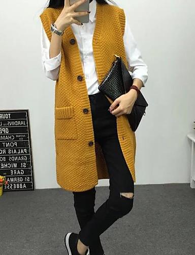 Damen Standard Strickjacke-Lässig/Alltäglich Einfach Solide V-Ausschnitt Langarm Baumwolle Herbst Winter Mittel Mikro-elastisch