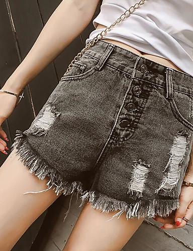 Damen Freizeit Hohe Hüfthöhe Gerade Kurze Hosen Jeans Hose Solide
