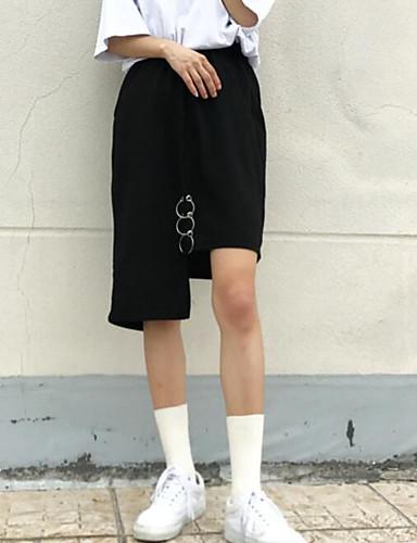 Damen Urlaub Asymmetrisch Röcke Schaukel einfarbig Sommer