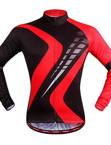 cheap Cycling Clothing-WOSAWE Men's Women's Long Sleeve Cycling Jersey - Red black Plaid / Checkered Bike Jersey Top Quick Dry Sports Polyester Mountain Bike MTB Road Bike Cycling Clothing Apparel / Stretchy / Advanced