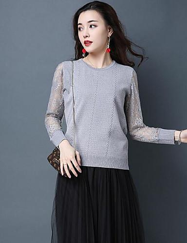 Damen Standard Pullover-Lässig/Alltäglich Solide Rundhalsausschnitt Langarm Baumwolle Andere Frühling Mittel Unelastisch