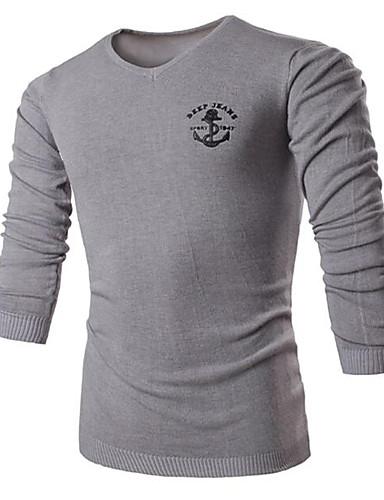 Herrn Solide Druck Lässig/Alltäglich Einfach Pullover Langarm V-Ausschnitt Frühling Herbst Polyester