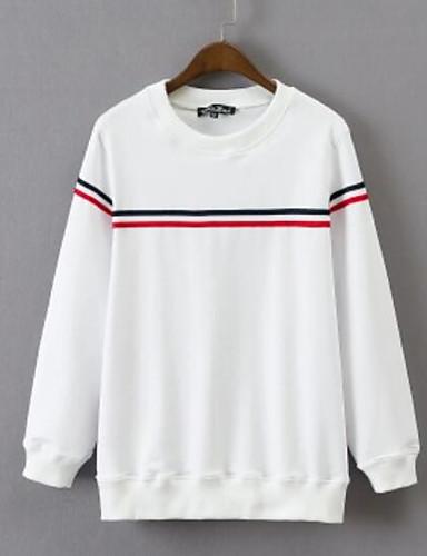 Damen Pullover Lässig/Alltäglich Gestreift Rundhalsausschnitt Mikro-elastisch Polyester Lange Ärmel Herbst