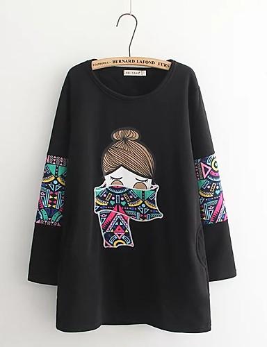 Damen Pullover Ausgehen Lässig/Alltäglich Einfach Niedlich Aktiv Druck Rundhalsausschnitt Mikro-elastisch Baumwolle Langärmelige Winter