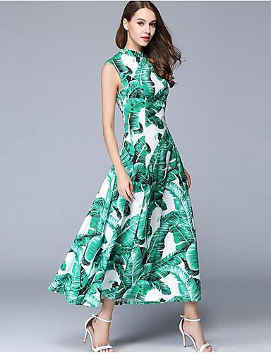 Damen Swing Kleid-Ausgehen Anspruchsvoll Blumen Rundhalsausschnitt Maxi Ärmellos Acryl Sommer Mittlere Hüfthöhe Unelastisch Dünn