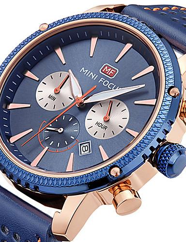 MINI FOCUS בגדי ריקוד גברים שעון יד Japanese קווארץ לוח שנה שעון עצר שעונים יום יומיים עור אמיתי להקה אנלוגי יום יומי מינימליסטי שחור / כחול / חום - שחור חום כחול / מתכת אל חלד