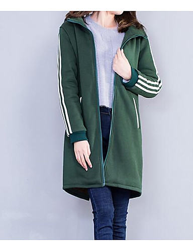 Damen Ausgehen Street Schick Lang Kapuzenshirt Solide Baumwolle / Herbst / Winter / Sportlicher Look