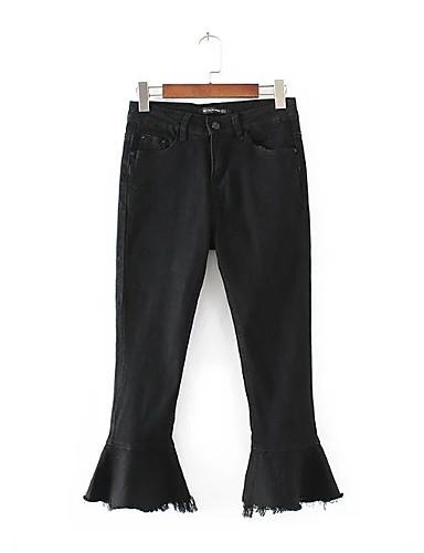 Damen Street Schick Mittlere Hüfthöhe Mikro-elastisch Bootcut Jeans Hose,Andere Ganzjährig Solide