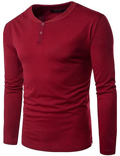 Herrn Solide - Freizeit Baumwolle T-shirt, V-Ausschnitt / Bitte wählen Sie eine Nummer größer als Ihre normale Größe. / Langarm