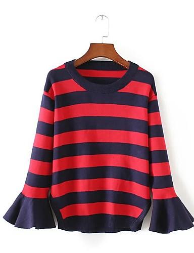 Damen Standard Pullover-Ausgehen Lässig/Alltäglich Einfach Niedlich Gestreift Rundhalsausschnitt Langarm Baumwolle Frühling Herbst Dünn