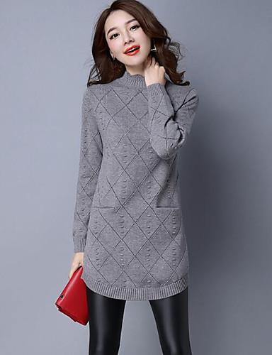 Damen Lang Pullover-Lässig/Alltäglich Solide Druck Rollkragen Langarm Wolle Andere Herbst Winter Mittel Mikro-elastisch
