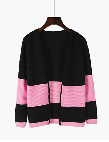 Women's Going out Simple Long Sleeve Cotton Cardigan - Color Block V Neck / Fall / Winter