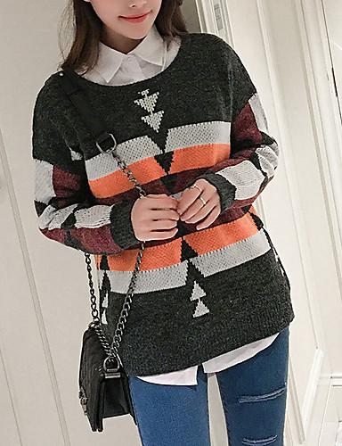 Damen Lang Pullover-Ausgehen Lässig/Alltäglich Einfach Gestreift Geometrisch Rundhalsausschnitt Langarm Polyester Winter Herbst Mittel