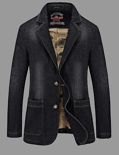 Herren Solide Einfach Lässig/Alltäglich Jeansjacke,Steigendes Revers Frühling Herbst Lange Ärmel Standard Baumwolle