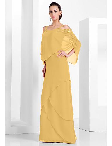 2ac4edd7ab826 عامودي حمالات سباكيتي طول الأرض شيفون حفلة رسمية فستان مع حصى   مستويات  بواسطة TS Couture®