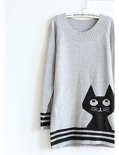 Damen Druck Lässig/Alltäglich Ausgehen Einfach Pullover Langarm Rundhalsausschnitt Winter Herbst Wolle