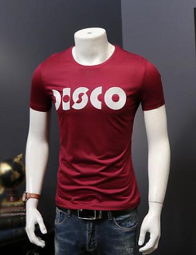 Herren Buchstabe Einfach Lässig/Alltäglich T-shirt,Rundhalsausschnitt Kurzarm Andere