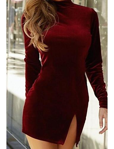 Damen Bodycon Kleid-Ausgehen Lässig/Alltäglich Solide Rundhalsausschnitt Übers Knie Langarm Baumwolle Sommer Mittlere Hüfthöhe Unelastisch