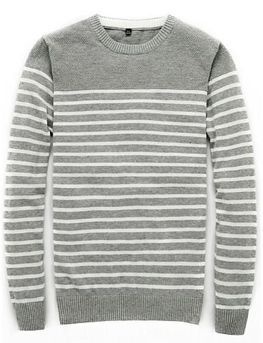 Herren Standard Pullover-Übergröße Lässig/Alltäglich Arbeit Retro Einfach Street Schick Solide Gestreift Einfarbig Rundhalsausschnitt