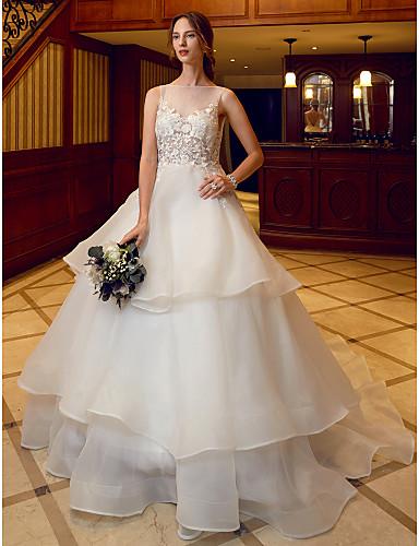 Báli ruha Illúziós nyakpánt Kápolna uszály Organza Egyéni esküvői ruhák val vel Rátétek / Fodrozott által LAN TING BRIDE®