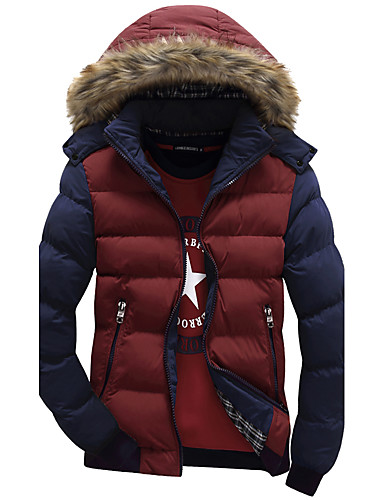 cheap Men's Downs & Parkas-Men's Daily / Going out Color Block Regular Padded, Polyester Long Sleeve Winter Red / Yellow / Khaki XL / XXL / XXXL