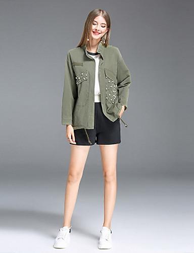 Damen Solide Einfach Ausgehen Lässig/Alltäglich Jacke,Ständer Herbst Langärmelige Standard Baumwolle Polyester Perlenbesetzt
