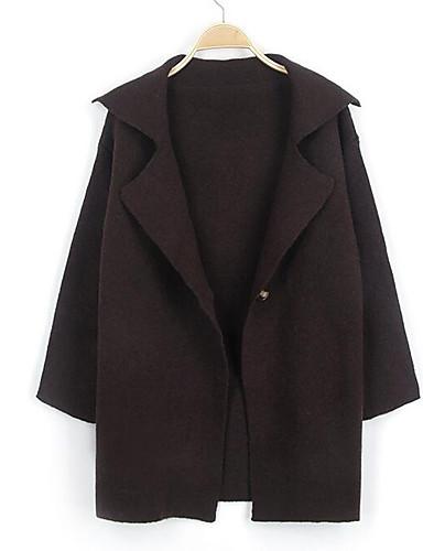 Damen Lang Strickjacke-Lässig/Alltäglich Einfach Solide Hemdkragen Langarm Baumwolle Herbst Winter Mittel Mikro-elastisch