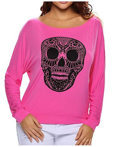 Damen Druck Einfach Lässig/Alltäglich T-shirt,Rundhalsausschnitt Frühling Herbst Langarm Polyester