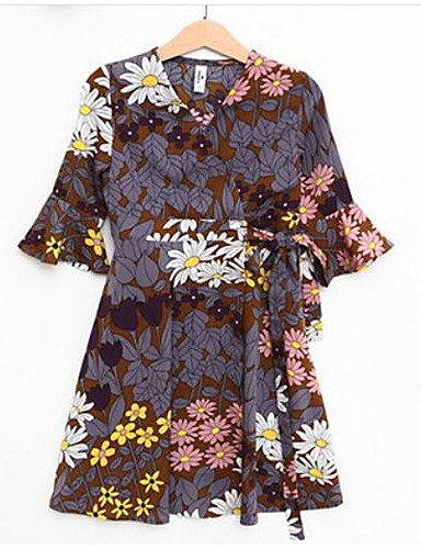Mädchen Kleid Blumen Baumwolle