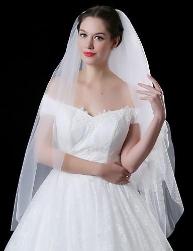 Zweischichtig Spitzen-Saum Hochzeitsschleier Gesichts Schleier Mit Paillette Applikationen Stickerei Spitze Tüll