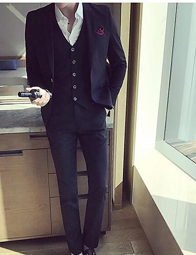 Herrn-Solide Einfach Anzüge,Gekerbtes Revers Baumwolle
