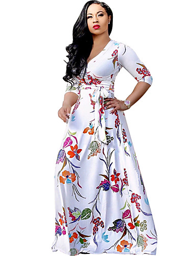 Women's Beach Boho Sheath / Swing Dress - Floral White High Rise Maxi V Neck
