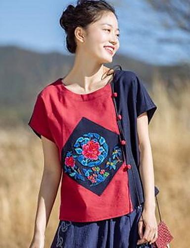 Damen Solide Einfarbig Stickerei Retro Chinoiserie Lässig/Alltäglich T-shirt,Rundhalsausschnitt Kurzarm Leinen