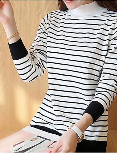 Damen Standard Pullover-Lässig/Alltäglich Einfach Gestreift Rollkragen Langarm Baumwolle Frühling Herbst Mittel Mikro-elastisch