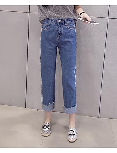 Damen Einfach Hohe Hüfthöhe Mikro-elastisch Jeans Gerade Hose Solide