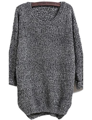 Damen Standard Pullover-Ausgehen Lässig/Alltäglich Einfach Solide Rundhalsausschnitt Langarm Baumwolle Herbst Winter Dick Mikro-elastisch