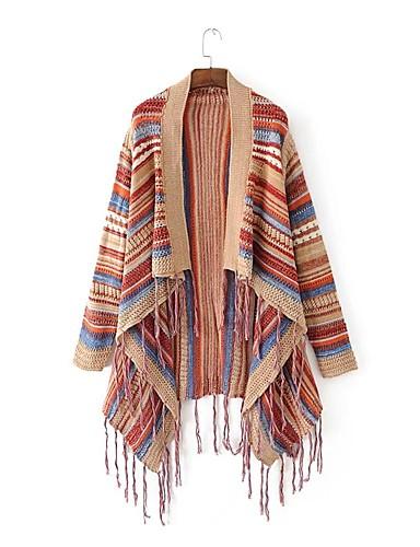 Damen Standard Mantel / Capes-Ausgehen Lässig/Alltäglich Einfach Gestreift Halter Ärmellos Baumwolle Acryl Frühling Herbst Dünn Mittel